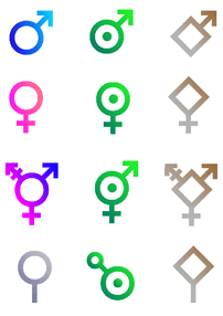 Fictional representations of gender symbols fo...