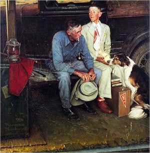 Breaking Home Ties Boy And Father Sitting On Truck