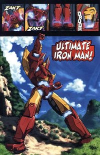 The Avengers transformed their Iron Avengers into the Ultimate Iron Man robot, which is tributed towards Mazinger Z