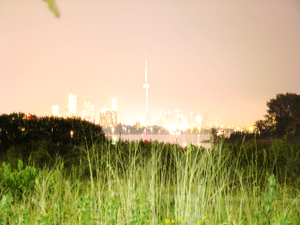 A long exposure night shot of Toronto's downto...