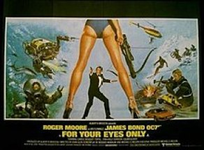 "A graphic, taking up three quarters of the image, on black background with the bottom quarter in red. Above the picture are the words ""No one comes close to JAMES BOND 007"". The graphic contains a stylised pair of women's legs and buttocks in the foreground: a pair of bikini bottoms cover some of the bottom. The woman wears high heels and is carrying a crossbow in her right hand. In the distance, viewed between her legs, a man in a dinner suit is seen side on, carrying a pistol. In the red, below the graphic, are the words: ""Roger Moore as Ian Fleming's James Bond 007 in FOR YOUR EYES ONLY""."