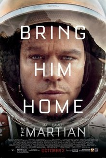 """The tired and worn face of a man wearing a space suit, with the words """"Bring Him Home"""" overlayed in white lettering. In smaller lettering the name """"Matt Damon"""" and the title """"The Martian"""""""