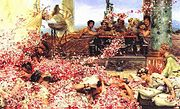 The canvas of Lawrence Alma-Tadema's The Roses of Heliogabalus (1888), 213 cm by 132 cm, is a near-perfect golden rectangle.