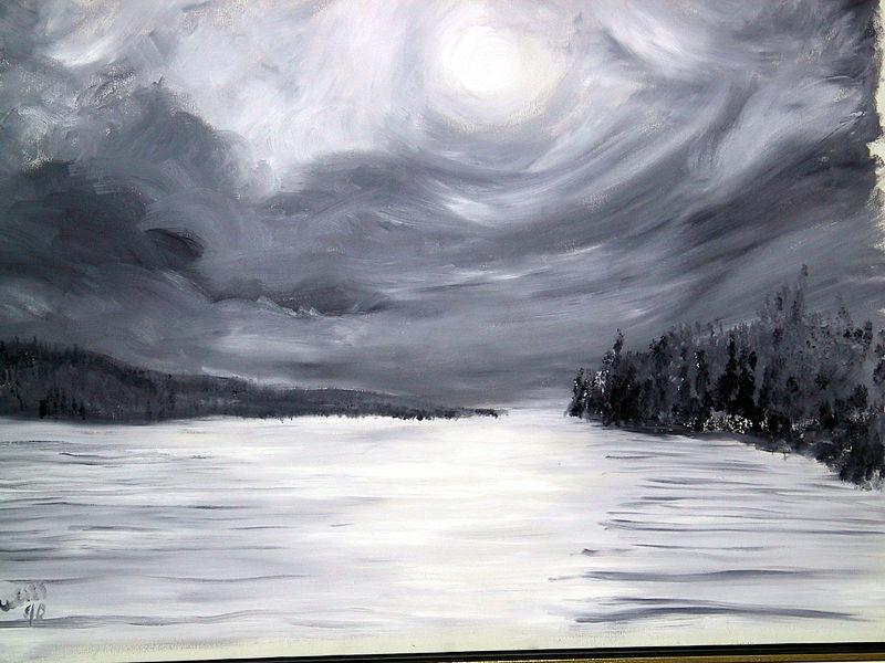 File:Lake Skaneateles Winter Night - Oil.jpg