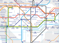 The schematic design of Zone 1 of the tube map. Locations of stations are not geographically accurate