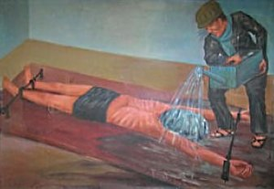 Painting of waterboarding at Cambodia's Tuol S...
