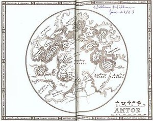 1934 map of Amtor drawn by Edgar Rice Burrough...