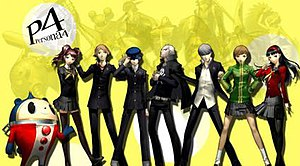 Playable characters of Persona 4, flanked by t...