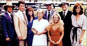 The original cast of Dallas. Clockwise from to...