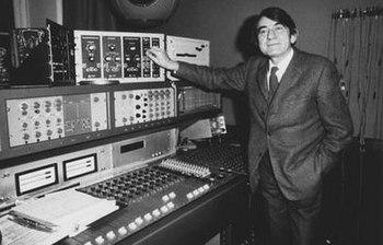 Pierre Schaeffer at the Studio 54 desk adjusti...