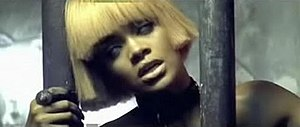 A shot from the music video where Rihanna is s...