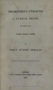 The Cloud  poem    Wikipedia 1820 cover of Prometheus Unbound  C  and J  Ollier  London