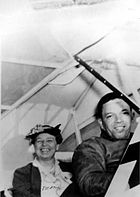 "Roosevelt flying with Tuskegee Airman Charles ""Chief"" Anderson"