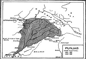 Map of Ranjit Singh's empire at its peak.