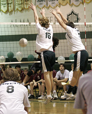 "A hitter gets ""roofed"" by the blockers."