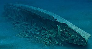 A painting of the decaying SS Andrea Doria circa 2005, with its superstructure gone and hull broken after 50 years of submersion in swift North Atlantic currents.