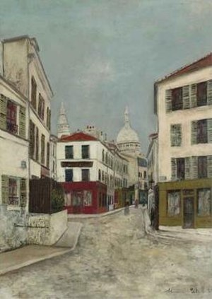 La Rue Norvins à Montmartre, oil on board pain...