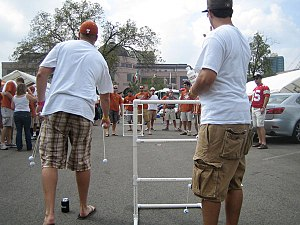 Ladder golf at a University of Texas tailgate