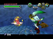 A fish-like humanoid faces a oyster-like monster, which is surrounded by a crosshair. Around the image are icons representing time passed, the player's health, magic, money, items and possible actions.
