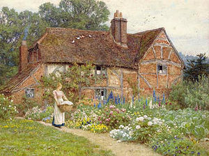 Helen Allingham watercolor showing elite peoni...