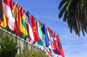 Flags representing the home countries of the s...