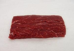 Raw flat iron steak