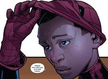 The first appearance of Miles Morales as Spide...