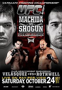 A poster or logo for UFC 104: Machida vs. Shogun.