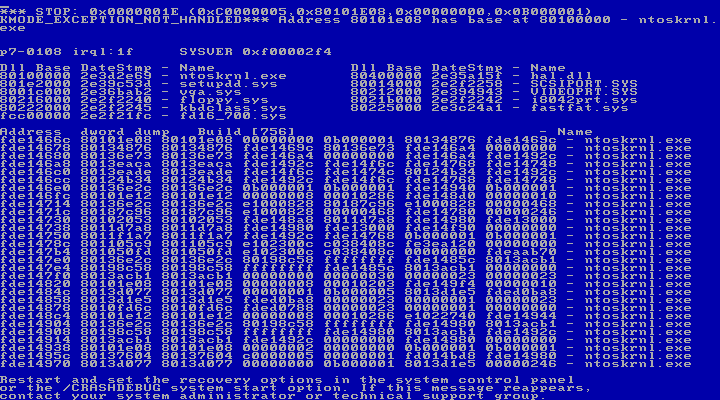 Blue Screen of Death di Windows NT pubblicato su Wikimedia Commons al quale si rimanda per la Licenza duso