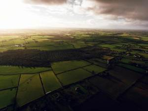 drone aerial photography of farming field in rural Ireland