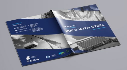 SkyClad Ltd Ireland build with steel brochure front and back cover graphic design