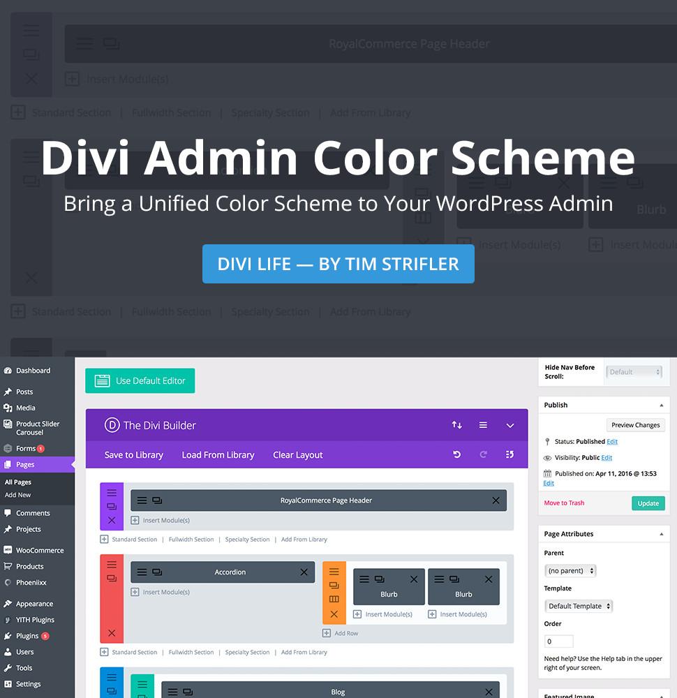 Divi Admin Color Scheme