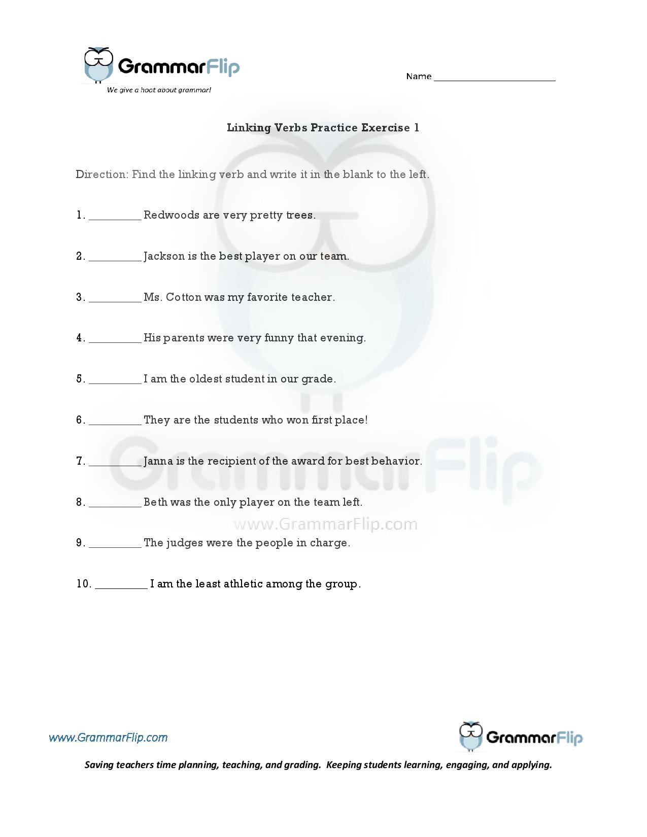 Linking Verb Practice Worksheet