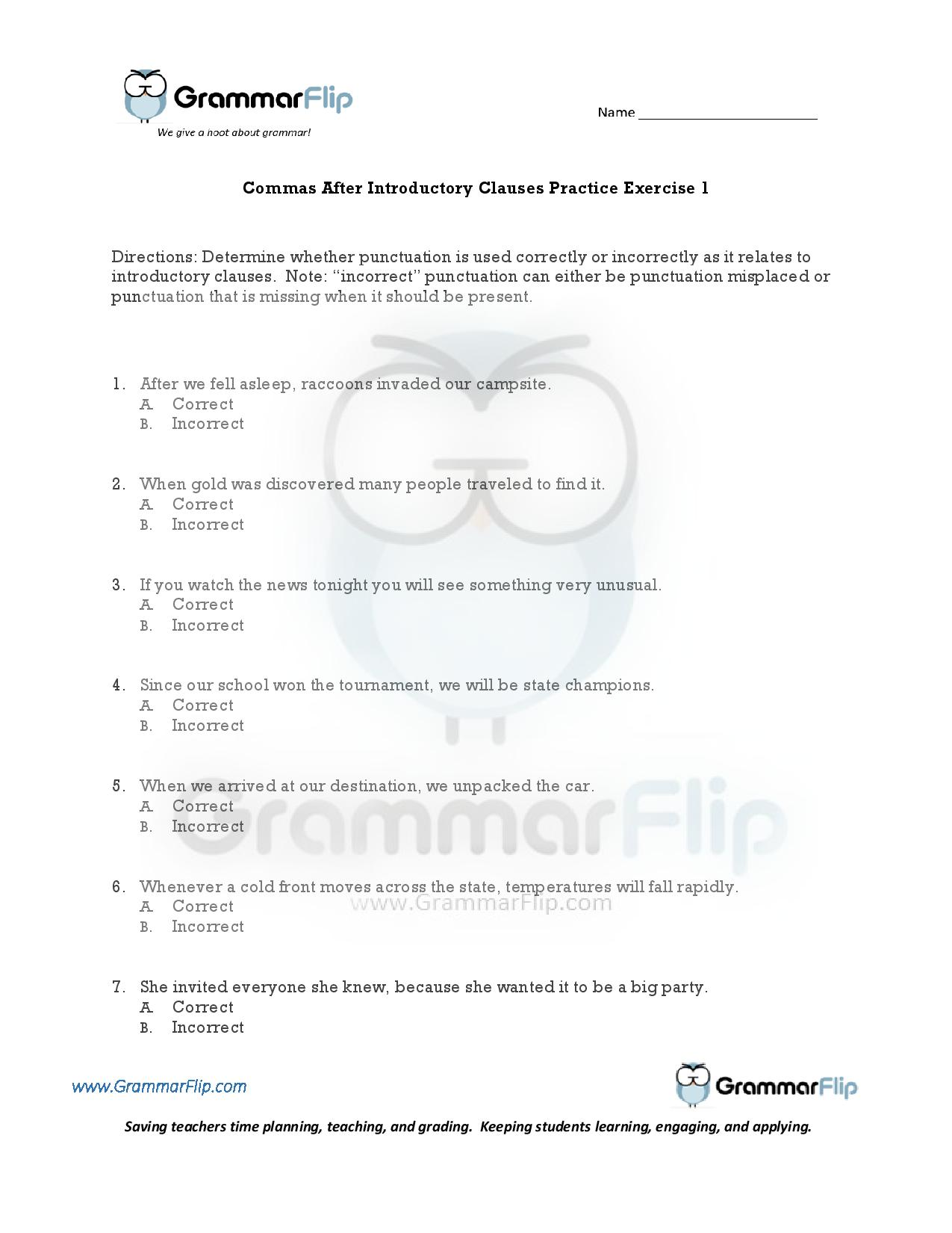 Essential And Nonessential Clauses Worksheet