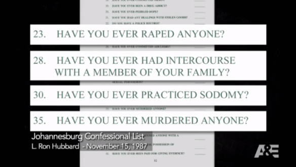 The Full Scientology Johannesburg Sec Check as Shown on