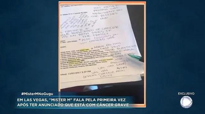 Screenshot 408 - Mister M pede ajuda para tratar câncer, mas não apresenta exames