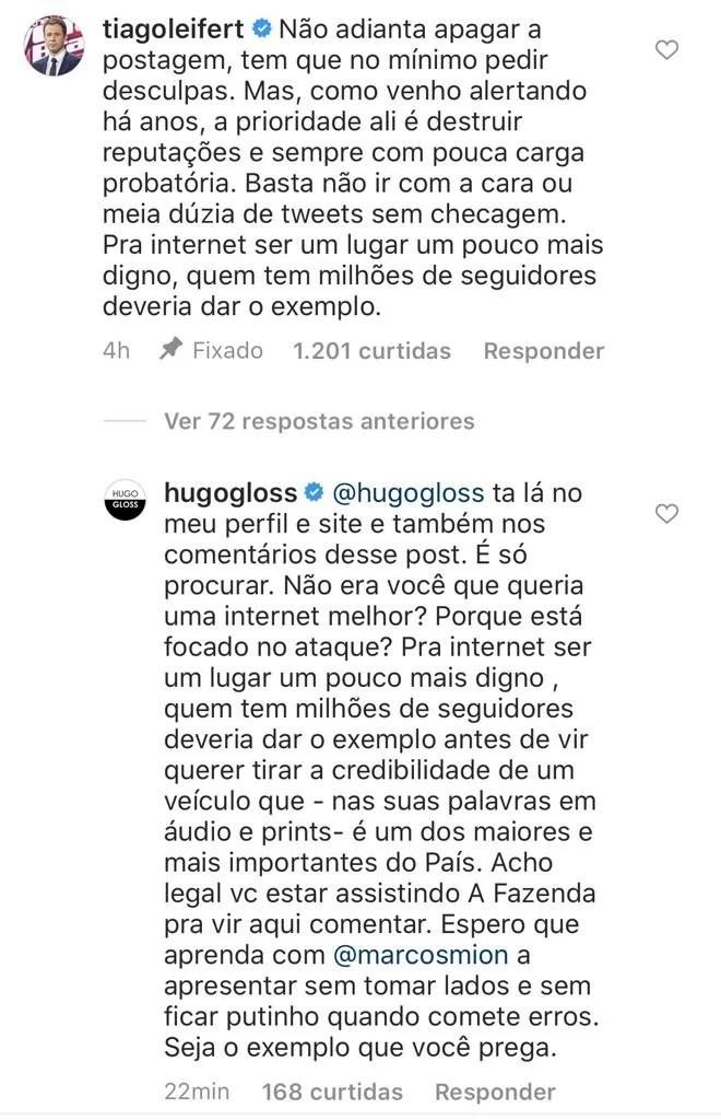 Briga entre Tiago Leifert e Hugo Gloss