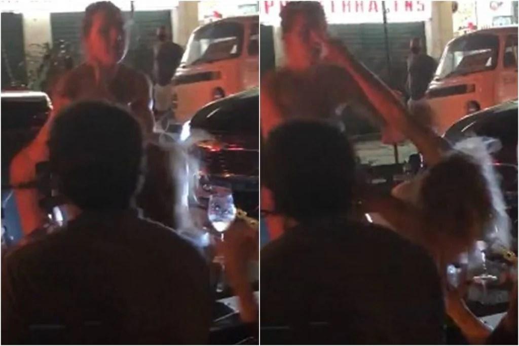 Pancadaria no Lebon: mulheres de fio dental em conversível brigam na rua