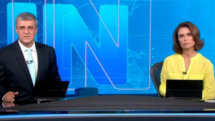 Flávio Fachel and Giuliana Morrone in the Jornal Nacional