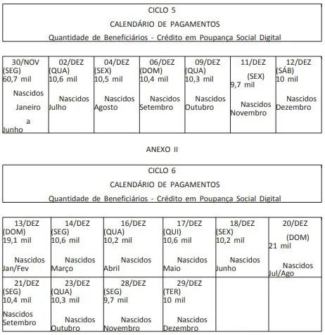 calendário auxílio