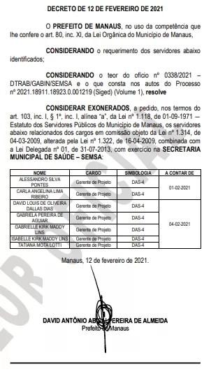prefeitura de manaus exonera servidores covid-19