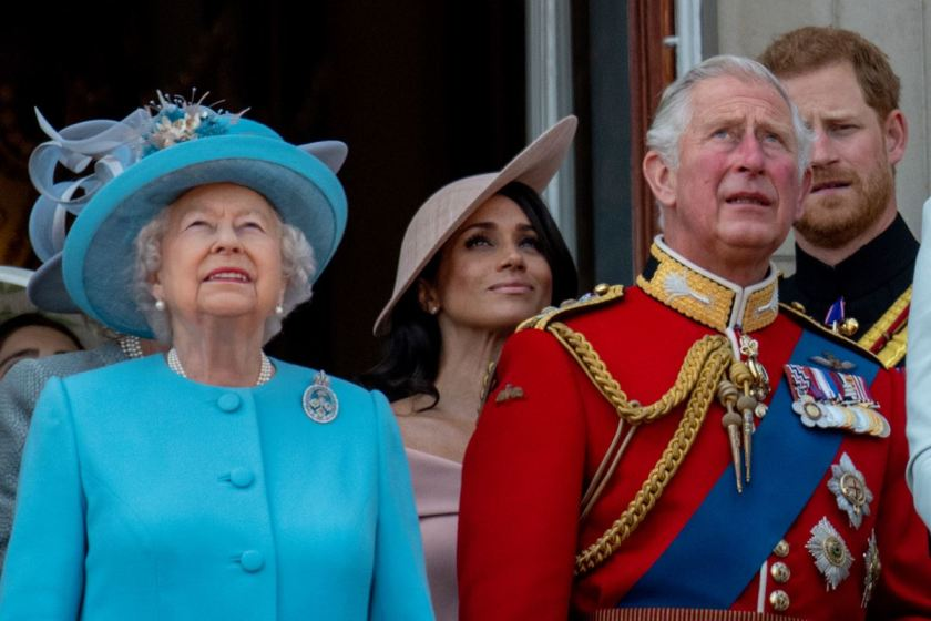 Queen Elizabeth, Meghan Markle with Princes Charles and Harry
