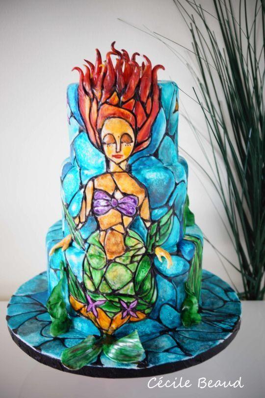 Beautiful Stained Glass Little Mermaid Cake Neatorama