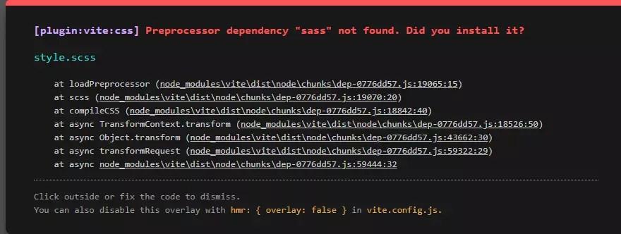 "Error message: Internal server error: Preprocessor dependency ""sass"" not found. Did you install it?"