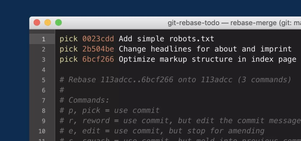 An editor window opens up after starting the interactive rebase session