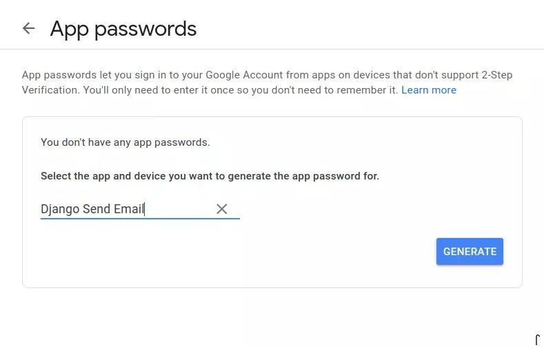 App password generation
