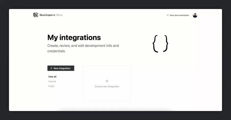 Notion API My Integrations page