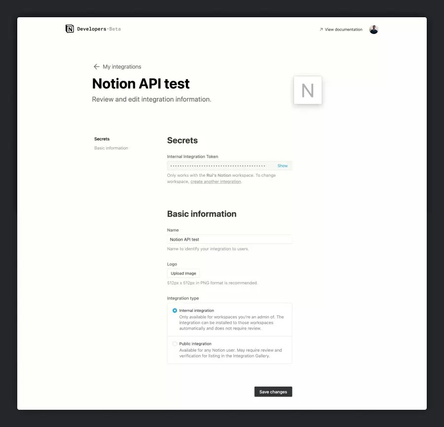 Notion API integration page with token