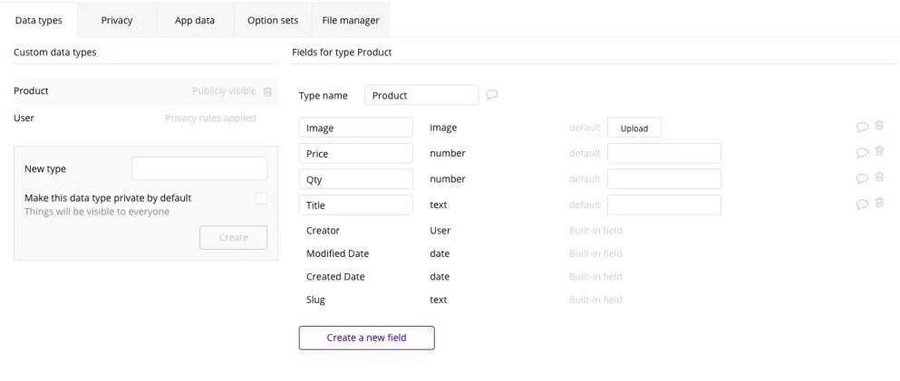Data types tab