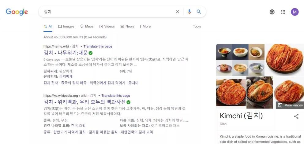 Kimchi google search Korea